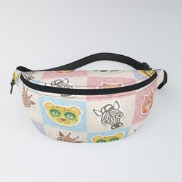 funny animals muzzle owl panda giraffe lion zebra leopard pattern with pink lilac Fanny Pack