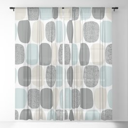Wonky Ovals in Teal Sheer Curtain