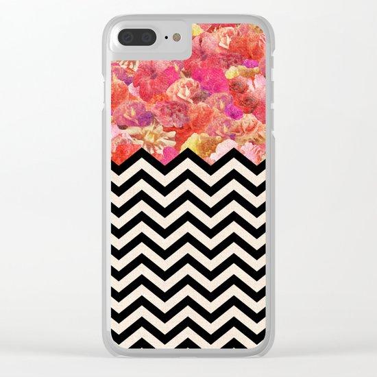 Chevron Flora Clear iPhone Case