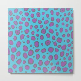 Blue and Hot Pink Leopard Design Metal Print