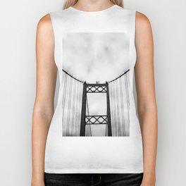 Vintage Monochromatic Black and White Bridge with Clouds Fine Art Print Biker Tank