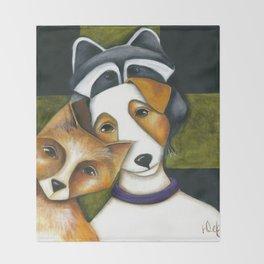 Dog Fox Raccoon Forest Friends Jack Russell Terrier Original art by Deb Harvey Throw Blanket