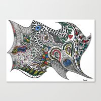 jay fleck Canvas Prints featuring jay by Anouki Art