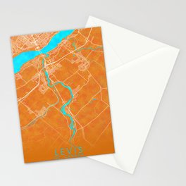 Levis, QC, Canada, Gold, Blue, City, Map Stationery Cards