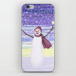 snowman with tufted titmice iPhone Skin