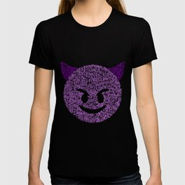 Emoji Calligraphy Art :Smiling face with horns T-shirt
