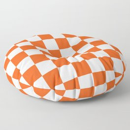 Cheerful Orange Checkerboard Floor Pillow