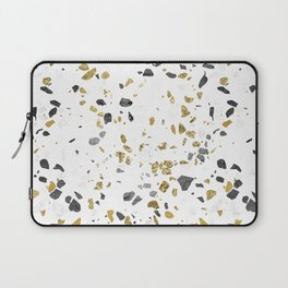 Black and Gold Terrazzo White Marble Laptop Sleeve