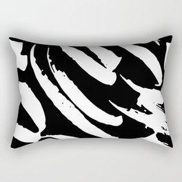 Black and White Brush Strokes Rectangular Pillow