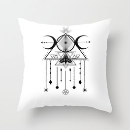 Wicca Sacred Geometry Moon Symbol and Dreamcatcher Talisman Throw Pillow