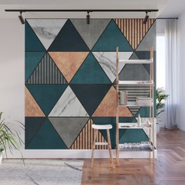 Copper, Marble and Concrete Triangles 2 with Blue Wall Mural