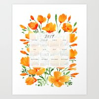 2019 calendar with California poppies Art Print