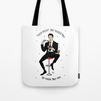 dale cooper Tote Bags featuring Special Agent Dale Cooper ~ RR Diner by Emma Munger