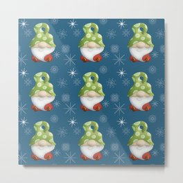 Blue Winter Gnome Pattern Metal Print