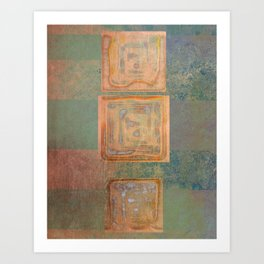 Three Cubes On Banded Metal Art Print