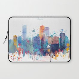 Miami watercolor skyline design Laptop Sleeve