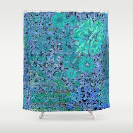 Teal Blue Abstract Art Collage Shower Curtain
