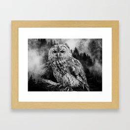 Owl & Forest Framed Art Print
