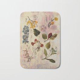 Botanical Study #1, Vintage Botanical Illustration Collage Bath Mat
