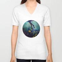 swim V-neck T-shirts featuring Midnight Swim by Corrine Cueto