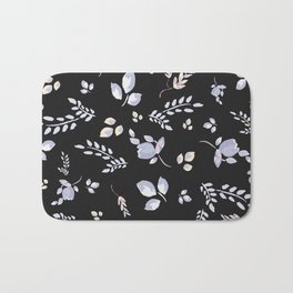 Spring watercolor leaves & tulips on charcoal background Bath Mat