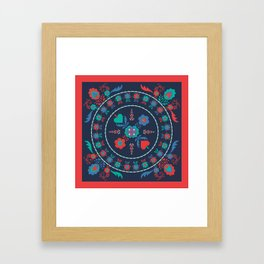 Folk Flowers with Red Border Framed Art Print