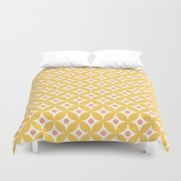 Yellow, coral and white elegant tile ornament pattern Duvet Cover