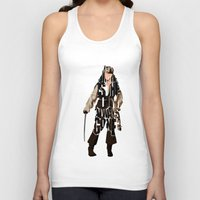 jack sparrow Tank Tops featuring Jack Sparrow Inspired Pirates of the Caribbean Typographic Poster by Ayse Deniz