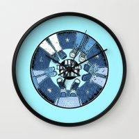 breakfast club Wall Clocks featuring The Breakfast Club by LuisD
