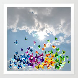 Butterflies in blue sky Art Print