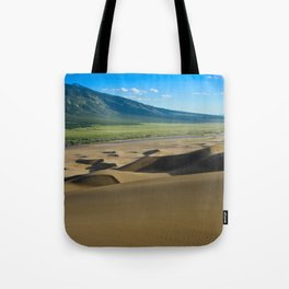 Great Sand Dunes against mountains Tote Bag
