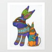 Purple Zen Rabbit  Art Print
