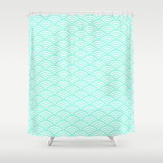 Green Mint Mermaid Scales Shower Curtain