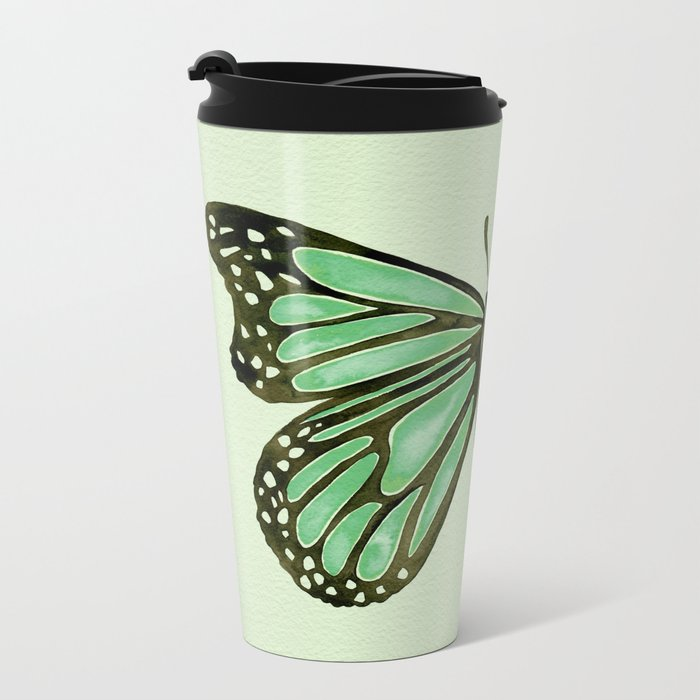 Mint Butterfly Metal Travel Mug