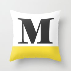 Monogram Letter M-Pantone-Buttercup Throw Pillow
