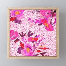 Pink Spring Flowers Mosaic Terrazzo Framed Mini Art Print