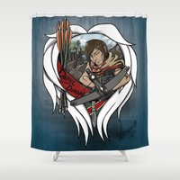 daryl dixon Shower Curtains featuring The Daryl Dixon by Vadsana