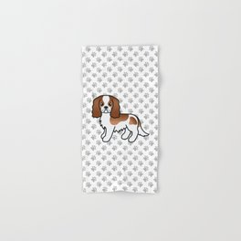 Cute Blenheim Cavalier King Charles Spaniel Dog Cartoon Illustration Hand & Bath Towel