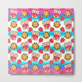Cute funny sweet adorable happy Kawaii toast with raspberry jam and butter, chocolate chip cookies, red ripe summer strawberries cartoon fantasy white blue pattern design Metal Print