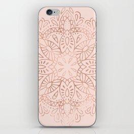 Mandala Rose Gold Pink Shimmer on Blush Pink iPhone Skin