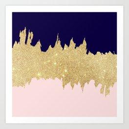 Modern navy blue blush pink gold glitter brushstrokes Art Print