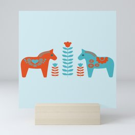 Scandinavian Folk Art Dola Horses and Flowers Mini Art Print
