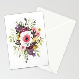 Burgundy Blush Watercolor Floral Stationery Cards