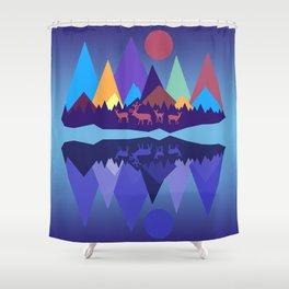 Deer in the Mountains Shower Curtain