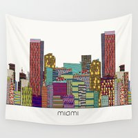 miami Wall Tapestries featuring Miami by bri.buckley