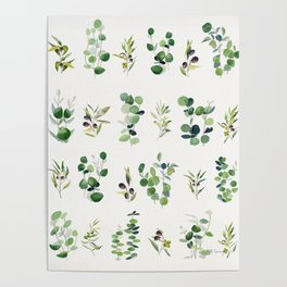 Eucalyptus and Olive Pattern 2  Poster