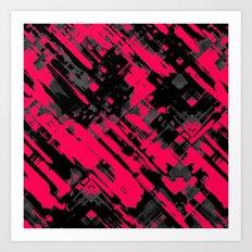 Hot pink and black digital art G75 Art Print