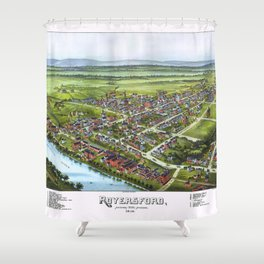 ROYERSFORD PENNSYLVANIA city old map Father Day art print poster Shower Curtain