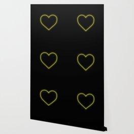 Yellow Neon Valentines Love Heart Wallpaper
