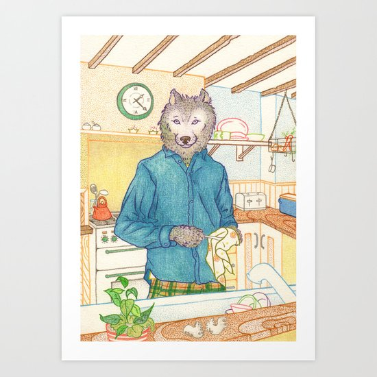 Everyday Animals - Mr Wolf washes the dishes Art Print
